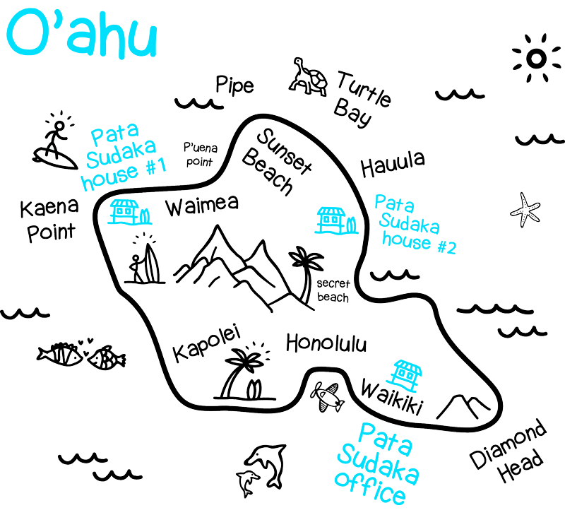 Oahu Map - Pata Sudaka Surf Trips