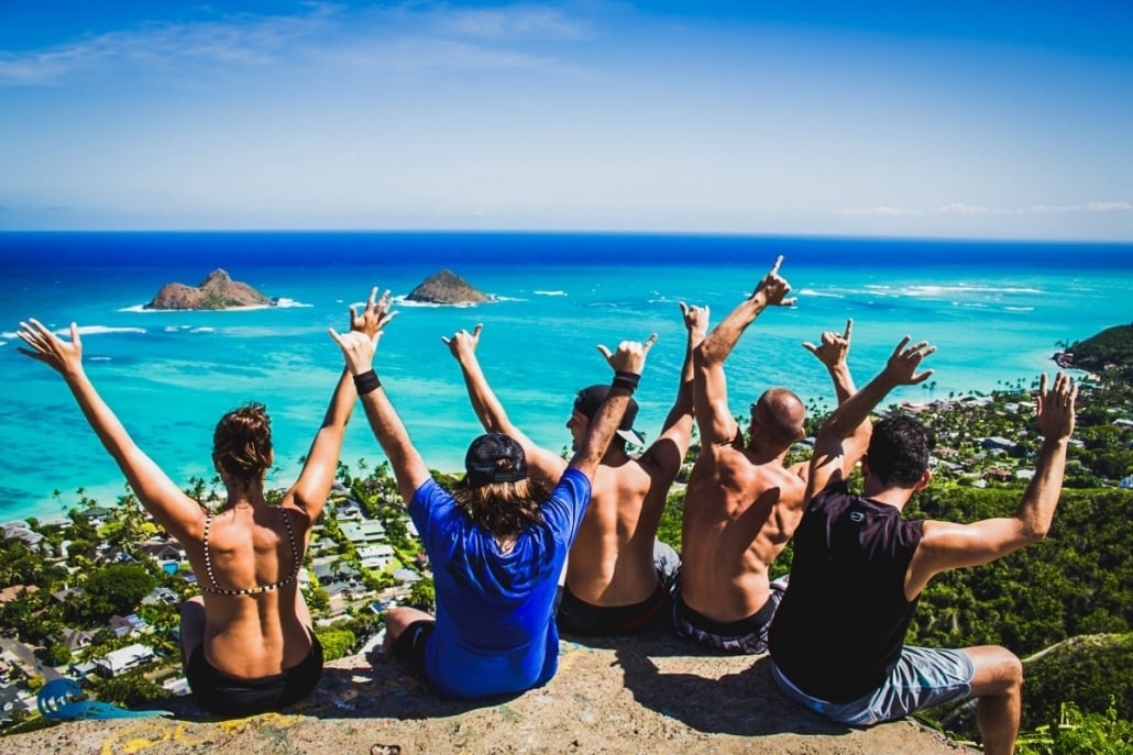 Surfers group in Hawaii