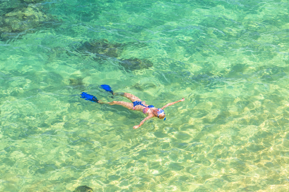 woman snorkeling in Hanauma Bay