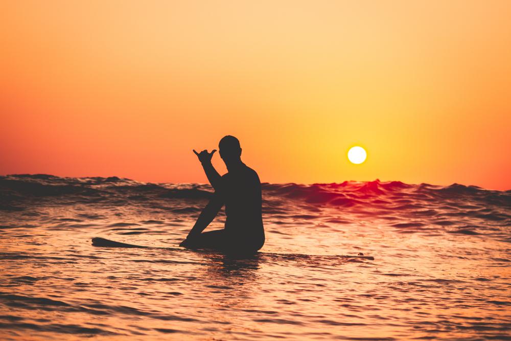 srurfing at sunset